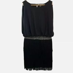 JS Boutique Flapper Fringe Tassle Black Dress